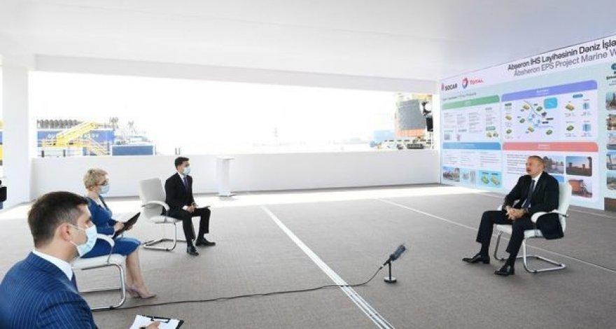 Ильхам Алиев дал интервью после церемонии закладки фундамента на месторождении «Абшерон» - ВИДЕО